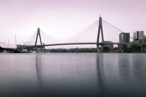 Sydney Anzac Bridge Summer Sky Water Harbour