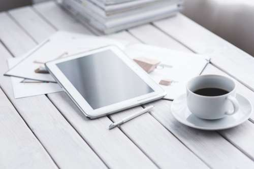 Tablet Digital Technology Working Coffee White