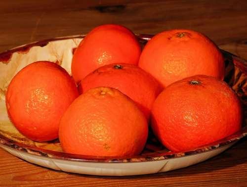 Tangerines Christmas Plate Orange Sweet Fruit Food