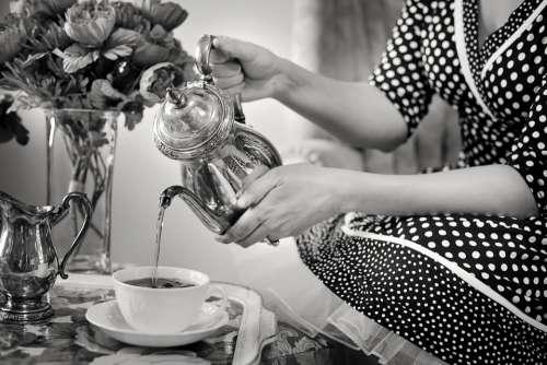 Tea Party Tea Black And White Teapot Drink Vintage