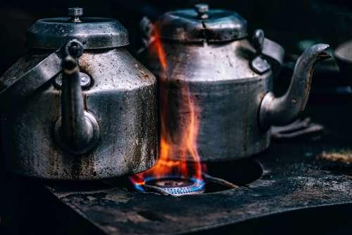 Teapots Pots Cook Stove Flame Gas Heat Burners