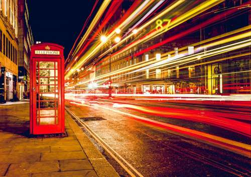 Telephone Booth Red London England Uk Street