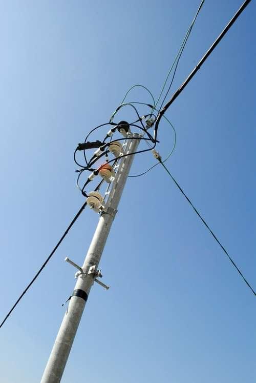 Telephone Poles Sky Blue Sky Frontline