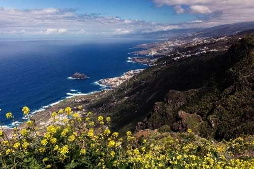 Tenerife Coast Teide Ocean Canary Islands