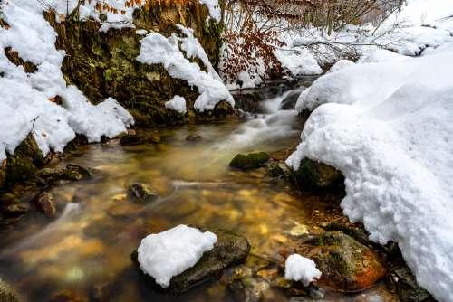 Természet Patak Tél Hó Winter Snow Brook