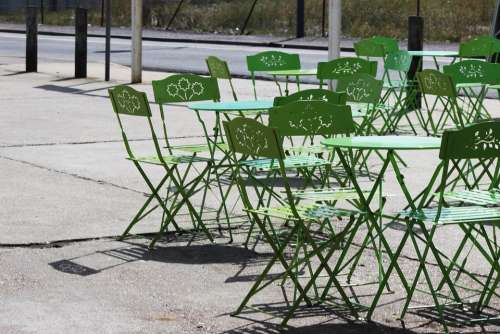 Terrace France Summer Tréport Tables Chairs Green