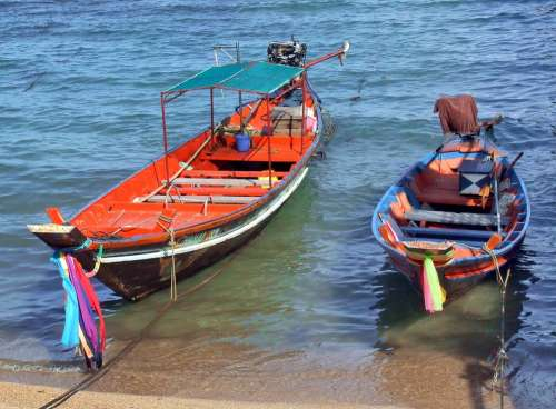 Thai Fishing Boats Boat Traditional Longtail