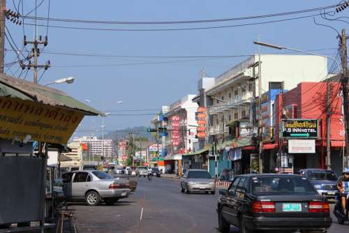 Thailand Phuket Street Traffic Cars Electric Cable