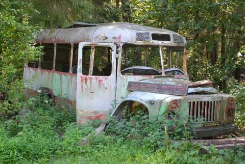 The Abandoned Bus Old Rusty Transport Forest