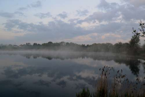The Fog Lake Landscape Water In The Morning
