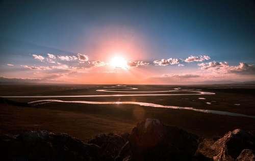 River Stream Curved Prairie Sunrise Nature