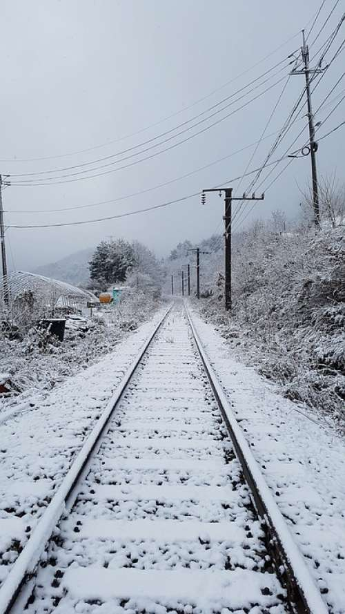 The Train Path Winter Snow Railroad