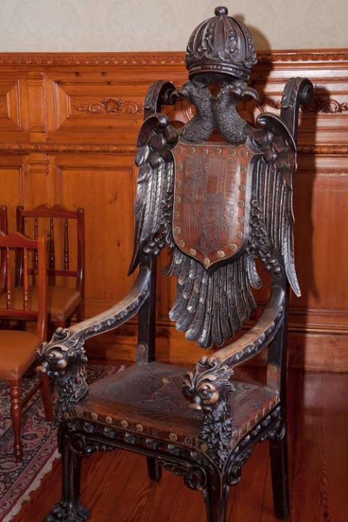 Throne Wood Carved Turned Rest Leather