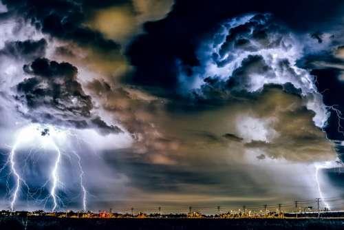 Thunderstorm Weather Storm Rain Lightning Bolts