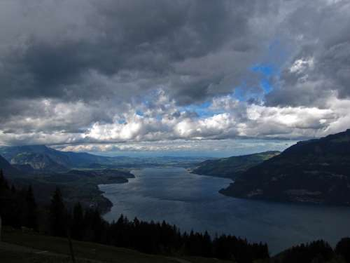 Thunersee Lake Blue Storm Nature Water Landscape