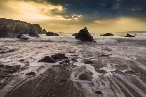 Tide Shore Coast Ocean Sea Rocks Beach Water