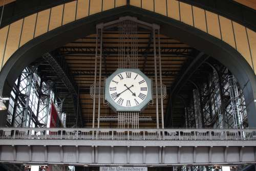 Time Clock Architecture Minute Railway Station
