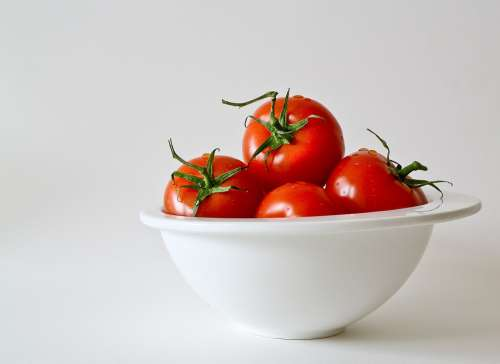 Tomatoes Vegetables Food Fresh Red Porcelain Bowl