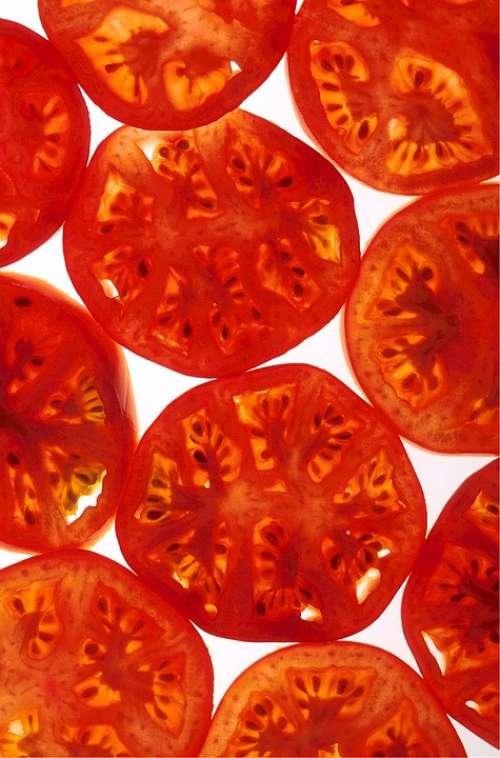 Tomatoes Ripe Sliced Healthy Fresh Vegetable