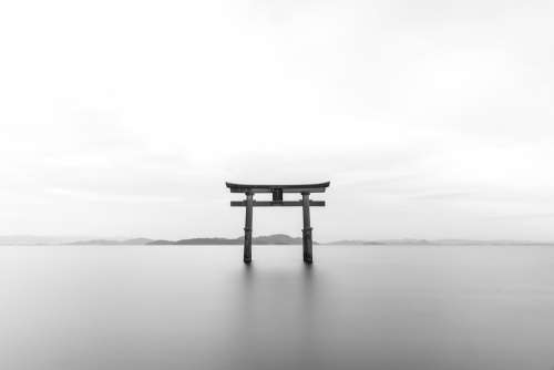 Tori Japanese Shrine Torii Black And White
