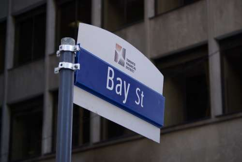 Toronto Bay St Financial District Street Sign