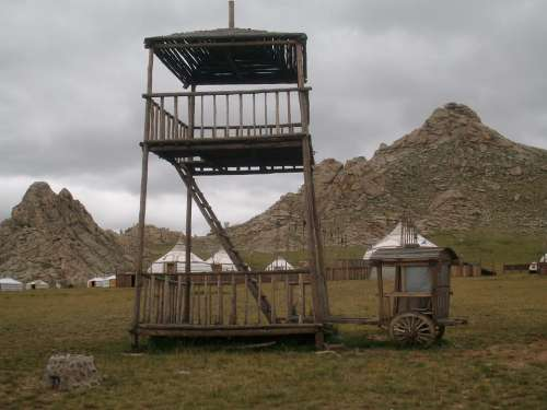 Tower Mongolia Steppe Wooden Tower