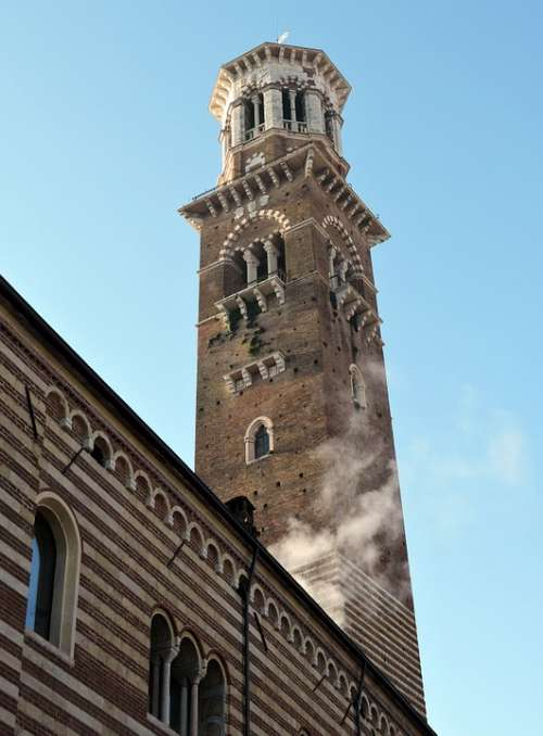 Tower Of Lamberti Verona Italy Scala Monument