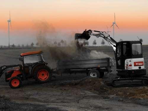Tractor Trailers Excavators Orange Agriculture
