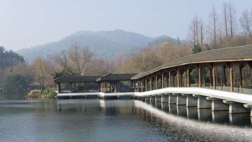 Traditional Building Gallery Scenery Lake