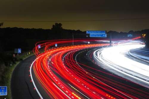 Traffic Highway Lights Night Road Long Exposure