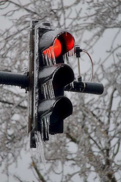 Traffic Lights Winter Icicles Ice Frozen Cold