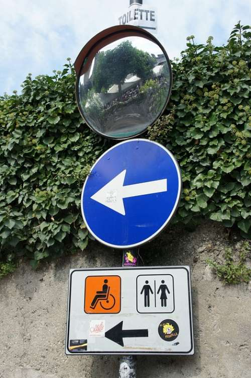 Traffic Sign Directory Toilet Arrow Toilet Sign