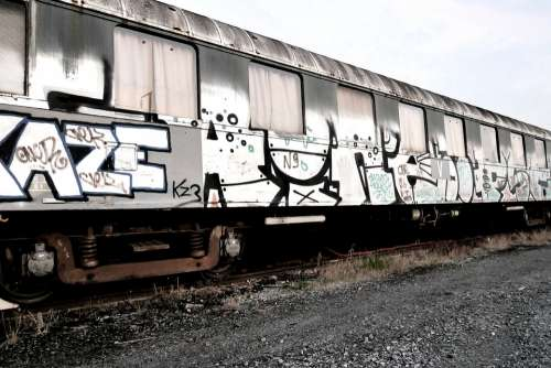 Train Tag Graffiti Vintage Old Track Wagon