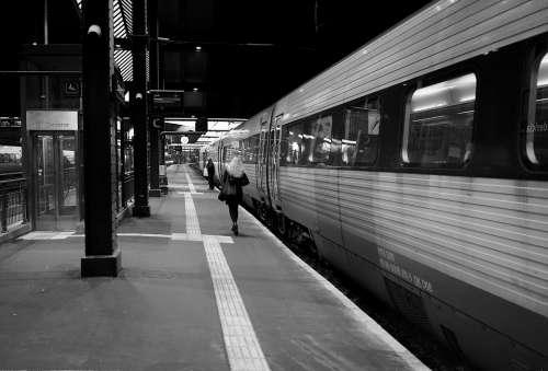 Train Railway Station Travel Transport Traffic