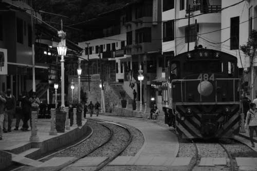 Train Black And White Aguas Calientes Machu Pichu