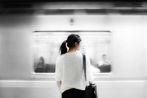 Train Station Cummuter Subway Metro Train Woman