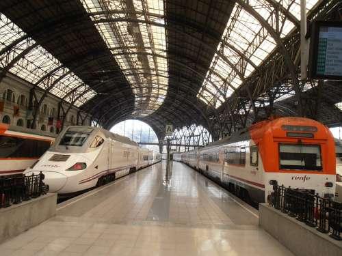 Trains Barcelona Station Transportation Travel