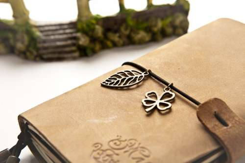 Notebook Book Leather Brown Four-Leaf Clover