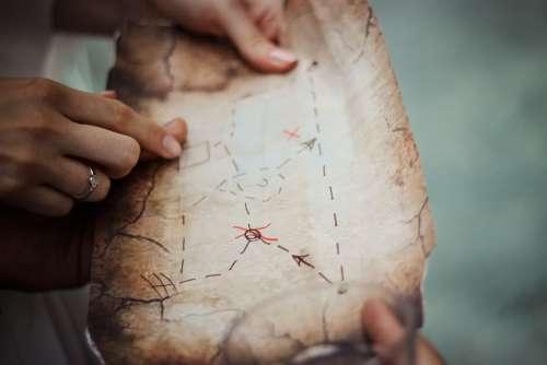 Treasure Map Navigation Map Exploration Hands