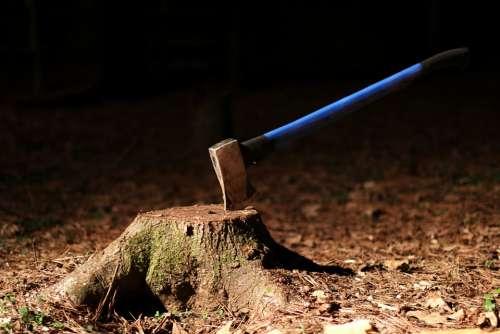 Tree Stump Axe Wood Night Equipment Split