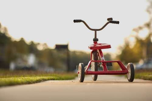 Tricycle Red Childhood Toy Fun Ride Retro