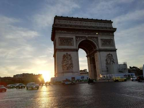 Triumphal Arch Sunrise Paris
