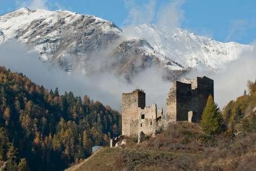 Tschanüff Castle Switzerland Ruins Ramosch