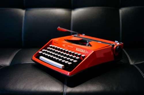 Typewriter Keys Write Vintage Old Orange Riviera