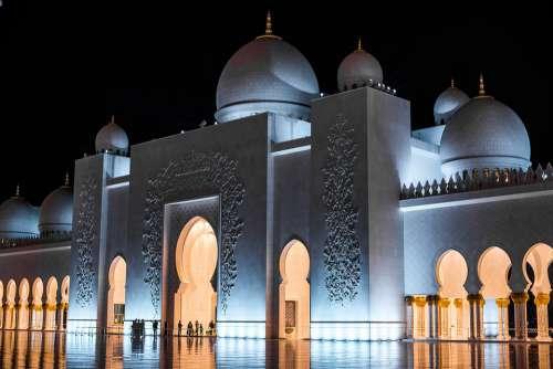 Uae Abu Dhabi Sheikh Zayed Grand Mosque Night