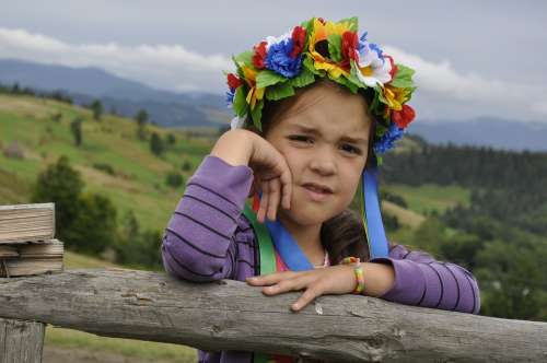 Ukraine The Carpathians Wreath Girl Summer