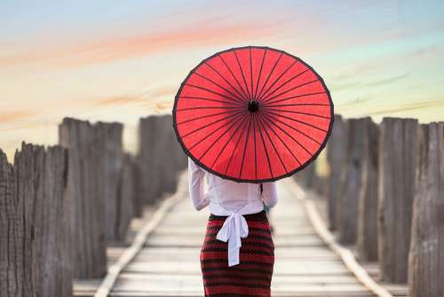 Umbrella Asia Myanmar Burma Bridge Woman Girl