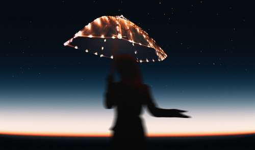 Umbrella Stars Dusk Dawn Star Female Girl Sunset