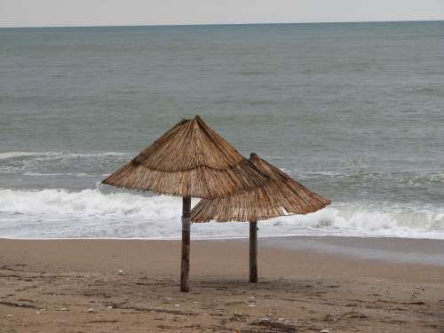 Umbrellas Sunshades Sea Ocean Coast Beach Seaside