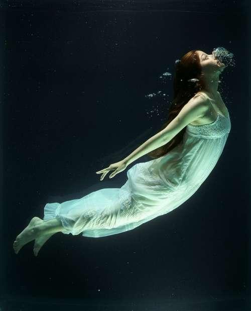 Under Water Fashion Woman Underwater Diving